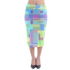 Pastel Geometrical Desing Midi Pencil Skirt