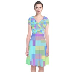 Pastel Geometrical Desing Short Sleeve Front Wrap Dress