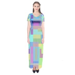 Pastel Geometrical Desing Short Sleeve Maxi Dress