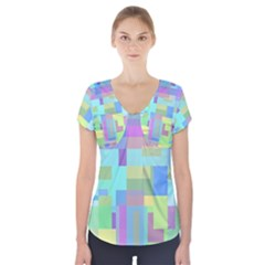 Pastel Geometrical Desing Short Sleeve Front Detail Top