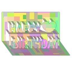 Pastel colorful design Happy Birthday 3D Greeting Card (8x4)