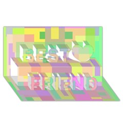Pastel colorful design Best Friends 3D Greeting Card (8x4)