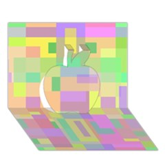 Pastel colorful design Apple 3D Greeting Card (7x5)