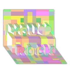 Pastel colorful design You Rock 3D Greeting Card (7x5)