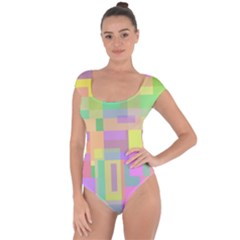 Pastel colorful design Short Sleeve Leotard