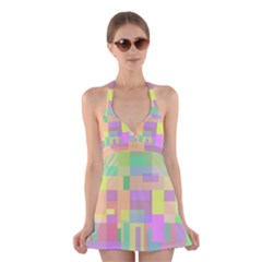 Pastel colorful design Halter Swimsuit Dress