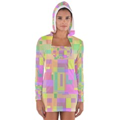 Pastel Colorful Design Women s Long Sleeve Hooded T Shirt