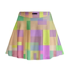 Pastel colorful design Mini Flare Skirt