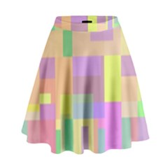 Pastel Colorful Design High Waist Skirt