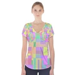 Pastel Colorful Design Short Sleeve Front Detail Top