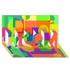 Colorful geometrical design MOM 3D Greeting Card (8x4)