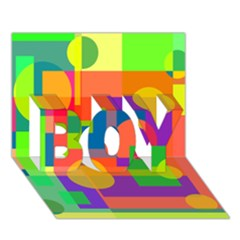 Colorful geometrical design BOY 3D Greeting Card (7x5)