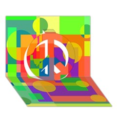 Colorful geometrical design Peace Sign 3D Greeting Card (7x5)