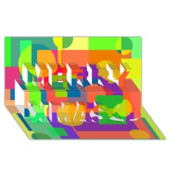 Colorful Geometrical Design Merry Xmas 3d Greeting Card (8x4)