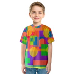 Colorful geometrical design Kid s Sport Mesh Tee