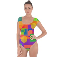 Colorful geometrical design Short Sleeve Leotard