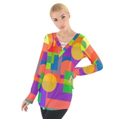 Colorful Geometrical Design Women s Tie Up Tee