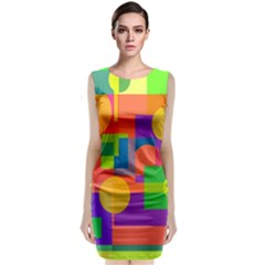Colorful Geometrical Design Classic Sleeveless Midi Dress