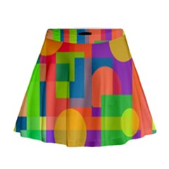 Colorful Geometrical Design Mini Flare Skirt