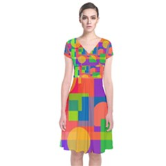 Colorful Geometrical Design Short Sleeve Front Wrap Dress