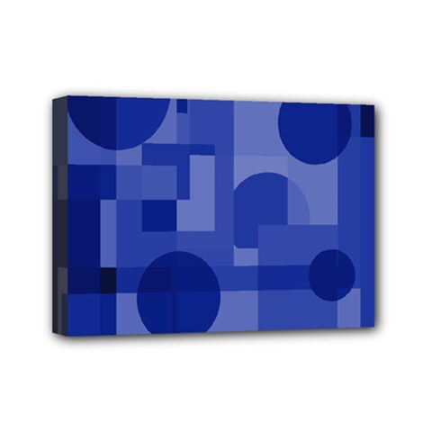 Deep blue abstract design Mini Canvas 7  x 5