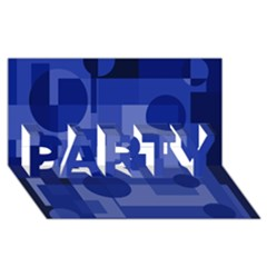 Deep blue abstract design PARTY 3D Greeting Card (8x4)