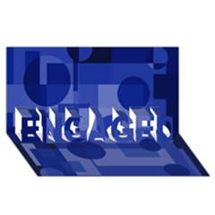 Deep blue abstract design ENGAGED 3D Greeting Card (8x4)