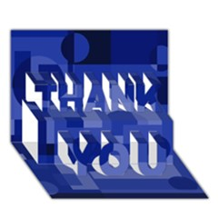Deep blue abstract design THANK YOU 3D Greeting Card (7x5)