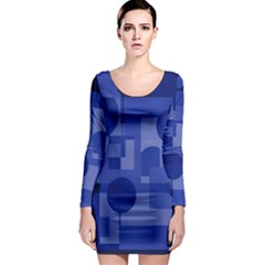 Deep blue abstract design Long Sleeve Bodycon Dress