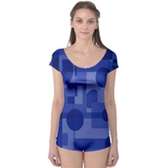 Deep blue abstract design Boyleg Leotard