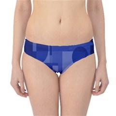 Deep Blue Abstract Design Hipster Bikini Bottoms