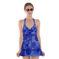 Deep blue abstract design Halter Swimsuit Dress