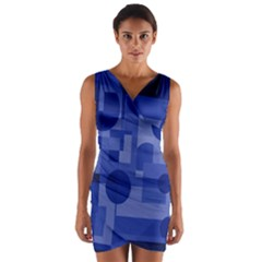 Deep Blue Abstract Design Wrap Front Bodycon Dress