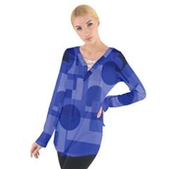 Deep Blue Abstract Design Women s Tie Up Tee