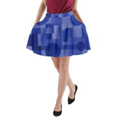 Deep blue abstract design A-Line Pocket Skirt