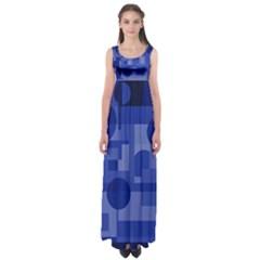 Deep Blue Abstract Design Empire Waist Maxi Dress