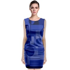 Deep Blue Abstract Design Classic Sleeveless Midi Dress