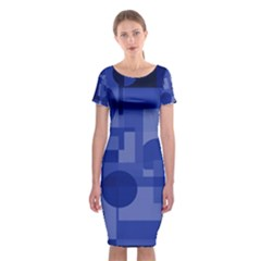 Deep Blue Abstract Design Classic Short Sleeve Midi Dress