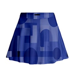 Deep Blue Abstract Design Mini Flare Skirt