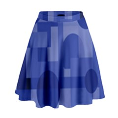 Deep Blue Abstract Design High Waist Skirt