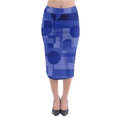 Deep Blue Abstract Design Midi Pencil Skirt