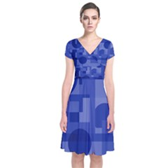 Deep Blue Abstract Design Short Sleeve Front Wrap Dress