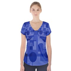 Deep Blue Abstract Design Short Sleeve Front Detail Top