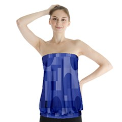 Deep Blue Abstract Design Strapless Top