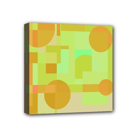 Green and orange decorative design Mini Canvas 4  x 4