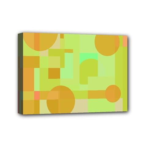 Green and orange decorative design Mini Canvas 7  x 5