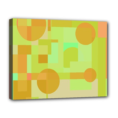 Green and orange decorative design Canvas 14  x 11