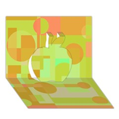 Green and orange decorative design Apple 3D Greeting Card (7x5)