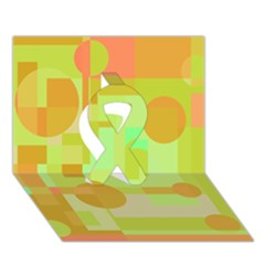 Green and orange decorative design Ribbon 3D Greeting Card (7x5)