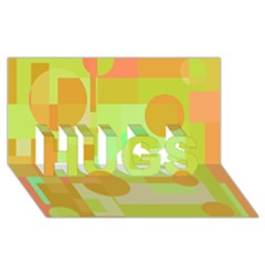 Green and orange decorative design HUGS 3D Greeting Card (8x4)